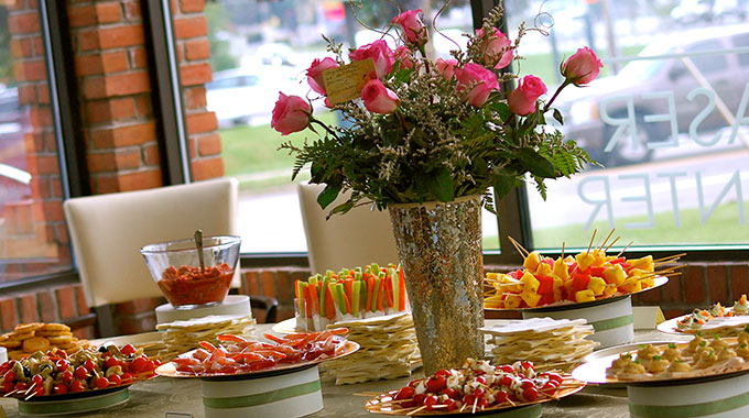 Gourmet food table at a Luxe Corporate Events.