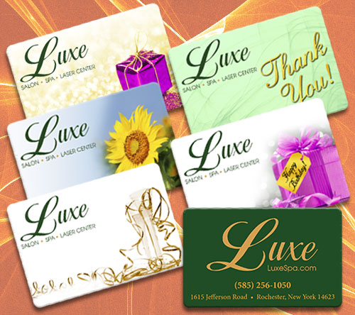 Image of different Luxe Gift Card styles available